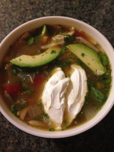 mexican mix and match chicken soup recipe top view