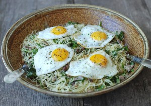 spaghettini with argula pancetta herbs and eggs recipe