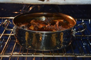 Our Braised Short Ribs in the oven.  Final 20 minutes of cooking with the lid off.